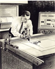 A drawing that I made while employed by National Cash Register Company (NCR) in Dayton, Ohio. It shows this man using a machine that we invented to make or draw the lines for printed circuit boards.