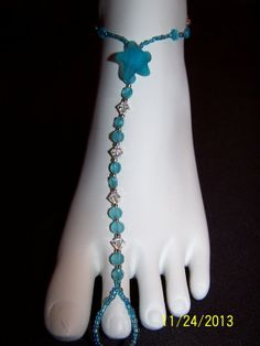 Blue starfish clear crystals and frosted by GreenBridalBoutique, $35.00