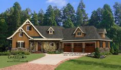 Hot Springs Cottage 3 Car House Plan 09132, Front Elevation, Mountain Style House Plans, Rustic House Plans, Lake House Plans