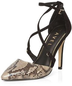 **Ravel Heeled Pumps - Snake, mixed materials, reptile print detailing, slim heel, buckle fastening and pointed toe. 100% OTHER.