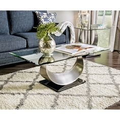 Furniture of America Heer Contemporary Gold Glass Top Coffee Table (Satin Plated), Clear U Shaped Coffee Table, Glass Top Coffee Table, Glass Table, A Table, Console Table, Living Room Furniture, Home Furniture, Table Furniture, Coffee Table Wayfair