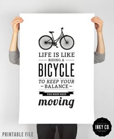 @Libby Cole  Typographic Quote, Printable File, Vintage Retro Poster - Bicycle quote print