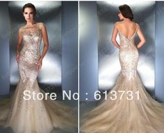 Wholesale - 2013 Sexy New Summer Jewel Champagne Mermaid Evening Gown Tulle Sequins Beaded Prom Dresses With Sleeves 1250D $199.60