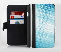 The Bright Diagonal Blue Streaks Ink-Fuzed Leather Folding Wallet Credit-Card Case for the Apple iPhone 6/6s, 6/6s Plus, 5/5s and 5c from DesignSkinz