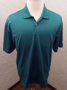 NIKE Golf Mens Size Large Polo Pullover Vented Mesh Shirt Green VGC #NikeGolf #PoloShirt