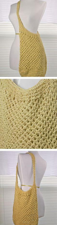 42 Ideas for knitting bag pattern farmers market Knitting Needle Sets, Baby Knitting Patterns, Lace Knitting, Crochet Patterns, Crochet Crafts, Knit Crochet, Crochet Market Bag, Crochet Purses, Knitting For Beginners