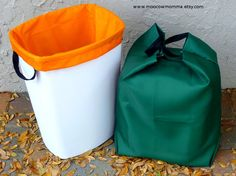 Reusable Kitchen Trash Can / Recycling Can Liners - Orange and Green Set of 2 sur Etsy, 37,93 €