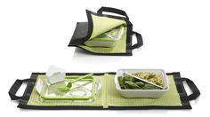 Lunch Box Set $37.00 includes containers that are spill-free and water-tight, cookbook and tote bag.