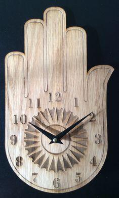 Buddha's hand clock wood wall clock wood clock wall by artbiheart