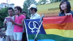 """""""At the public assembly in Freedom Park! Chris from Burma with Srun Srorn reading our statement demanding inclusion of SOGI rights to much cheers from the massive rally. """" https://iglhrc.org/content/asean-human-rights-declaration-refuses-protect-lgbtiq-rights"""
