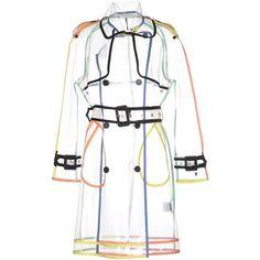 Wanda Nylon Full-length Jacket (2.180 RON) ❤ liked on Polyvore featuring outerwear, jackets, transparent, single breasted jacket, sheer jacket, white trench coat, water proof jacket and logo jackets