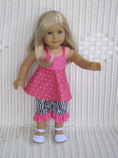 Zebra Capri Set with Hot Pink Sundress top. Doll Clothes by Trudy on Etsy American Doll Clothes, Ag Doll Clothes, Doll Clothes Patterns, Doll Patterns, Clothing Patterns, Short Sundress, Pink Sundress, Girl Dolls, Baby Dolls