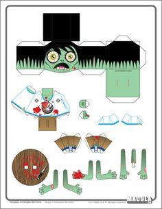 zombie folk paper toy #free #printable #halloween #holidays #diy #crafts