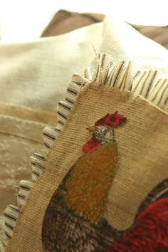 Mixed Media Origins paper from @canvascorp used as an applique on canvas and burlap pillows.