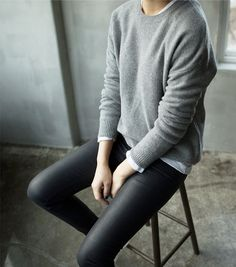 Leather leggings, grey knit over white cotton
