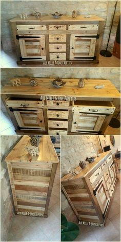 pallet wood cabinet design #palletfurniture
