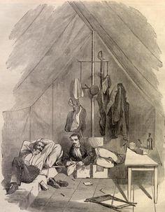 Harper's Weekly artist rendition on inside Civil War soldier tent...