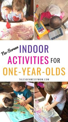 Indoor toddler activities for one year olds. At home activities and DIY crafts for 18 months and under Educational toddler activities for learning through play. activities for old 36 Screen-Free Indoor Activities for One Year Olds - Tales of a Messy Mom Activities For One Year Olds, Indoor Activities For Toddlers, Toddler Learning Activities, Infant Activities, 18 Month Activities, Activities For Babies Under One, Child Development Activities, Painting Activities, Toddler Development