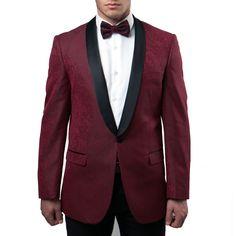 Burgundy Tuxedo Jacket Pattern with Black Satin Shawl Lapel - Blazer Wedding