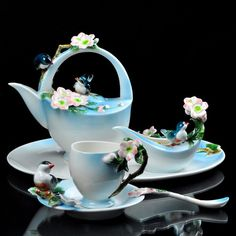 Tea Time Sakura Flower Coffee Set NicePlatter Creamer Sugar Bowl Cup Pot Saucer | eBay
