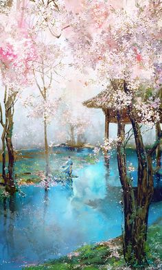 cosas tan hermosas valen la pena recordarlas artistic wallpaperwallpaper artcherry blossom paintingjapanese - Japanese Garden Cherry Blossom Paintings