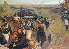 Russian army and civilians leaving Moscow 14 September 1812