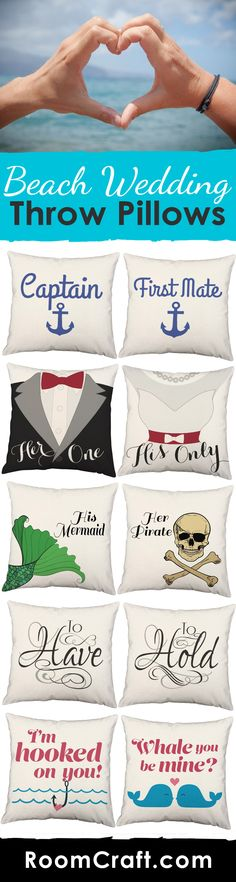 Top off your beautiful beach wedding with one of these sweet couple throw pillow sets. With many nautically inspired pillow cover designs you will surely find the perfect addition to your wedding décor. Our quality pillow covers are made to order in the USA and feature 3 wooden buttons on the back for closure. Each design is available in multiple fabrics, colors, and sizes. Choose your favorite and create a truly unique couples pillow set. #roomcraft
