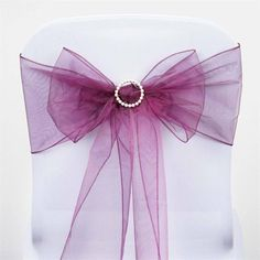 5 PCS Wholesale Eggplant Sheer Organza Chair Sashes Tie Bows Catering Wedding Party Decoration