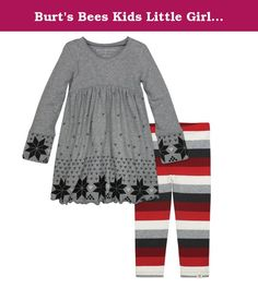 Burt's Bees Kids Little Girls' Organic V-Neck Dress and Legging Set, Heather Grey/Fair Isle, 5 Years. She'll be photo ready this holiday season in her fair isle dress and multi-stripe legging to match. The sweet silhouette is perfect for special occasions, while the multi-stripe leggings shout, let's have some fun.