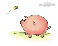 Nursery Wall Art - Pig and Butterfly, 5x7 Illustration Print. $9.00, via Etsy.