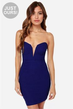 LuLu*s Exclusive! You can have it all, in the Rolling in the Deep V Royal Blue Strapless Dress! A...