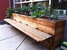 wooden planter boxes with benches - Google Search