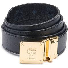 MCM Visetos Round Belt ($330) ❤ liked on Polyvore featuring men's fashion, men's accessories, men's belts, mens reversible belt and mcm mens belt