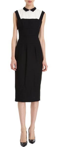 L'Wren Scott's dress needs white sleeves with possibly black cuffs to cover the arms and make it office appropriate.