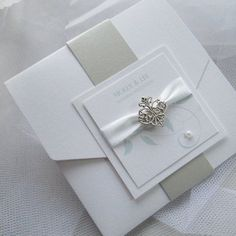 Pocketfold invitation with belly band wrap