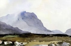 Edward Wesson (1910-1983) - Watercolour - Mountainous landscape with moorland, 12.5ins x 19.25ins, signed, framed and glazed