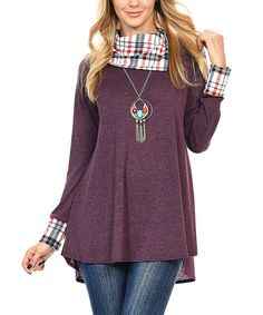Another great find on #zulily! Purple & Plaid Melange Cowl Neck Tunic #zulilyfinds