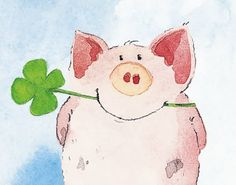 Items similar to One Pig Family x 11 Fine Art giclee print -Cute and Fun Family with beautiful happy colors on Etsy Pig Illustration, Illustrations, Watercolor Cards, Watercolor Paintings, Pig Crafts, Pig Art, Cute Piggies, This Little Piggy, Happy Paintings