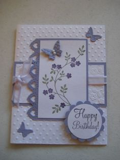 "By kat1227baskets at bay.com. Uses stamp from ""Thoughts and Prayers"" by Stampin' Up."