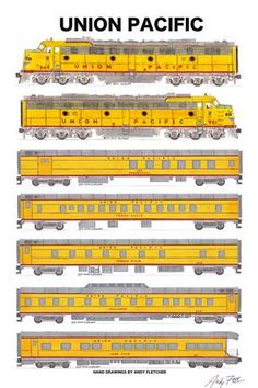 Union Pacific Passenger Train Poster by Andy Fletcher signed