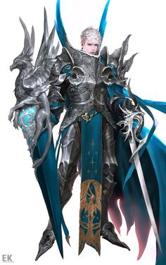 Female Mighty Cyan Paladin
