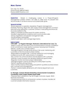 MANAGER RESUME PROJECT