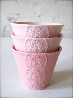 Set of 3 Pink Pink Pink Porcelain Lace Cups by Hideminy