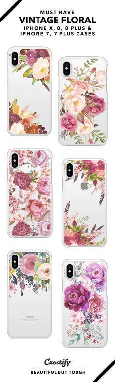 Must have Vintage Floral iPhone X, iPhone 8, iPhone 8 Plus, iPhone 7 and iPhone 7 Plus case. - Shop them here ☝️☝️☝️ BEAUTIFUL BUT TOUGH ✨ - vintage, floral, flowers, watercolour, vintage floral
