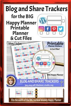Blog and Share Social Media Trackers Big Happy Planner Printable Planner Stickers and Cut Files #social media #blogtracker #printableplannerstickers #plannerstickers #printablestickers #planner #planning #plannercommunity #planneraddicts #happyplanner #mambi #erincondren