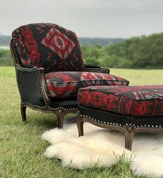 Rustic decor Custom Rustic cowhide Arm chair ottoman restored
