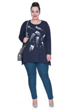 Ciemnogranatowa tunika w malowany wzór z dżetami - Modne Duże Rozmiary