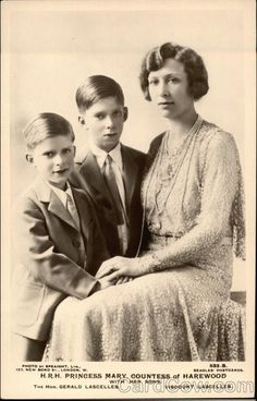 H.R.H. Princess Mary, Countess of Harewood, with her sons:  The Honorable George Lascelles, later 7th Earl of Harewood, and (front) The Honorable Gerald Lascelles.