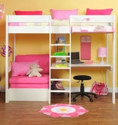 Last Years model High Sleeper with Pull Out Chair Bed in Pink + Free Stompa S Flex Airflow Mattress Bunk Beds For Girls Room, Bunk Bed With Desk, Cool Bunk Beds, Kids Bunk Beds, Girls Bedroom, Bed Rooms, Cabin Beds For Girls, Loft Beds, Bunk Bed Designs