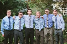 Shades of blue with mix & match ties - Stylin' Groomsmen